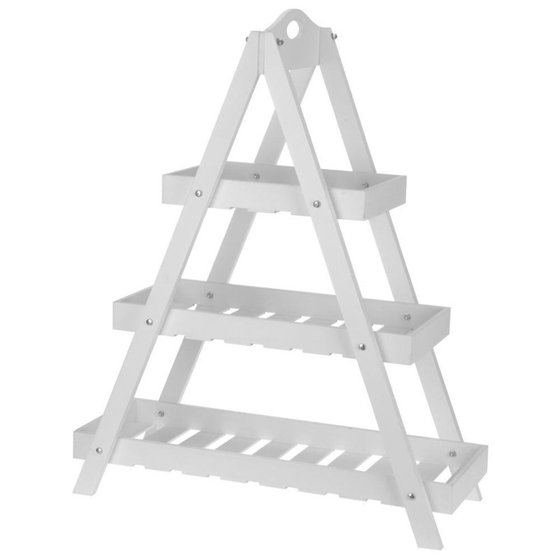 ORION Flowerbed stand 3-LEVEL LADDER rack for flowers herbs pots white