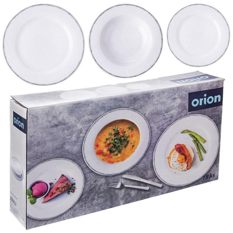 ORION Tafelservice Geschirr-Set Tellerset RUND 18-teilig aus Porzellan