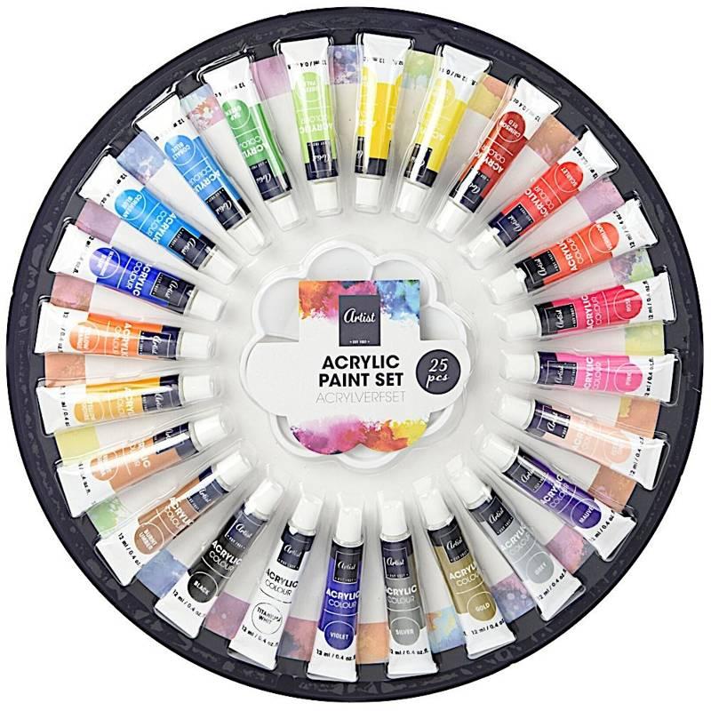 ORION Acrylfarben Acrylfarbenset 24 x 12 ml + Palette für Profi- und Amateurkünstler