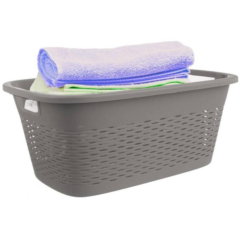 ORION Badezimmerkorb Wäschekorb Tragekorb für Wäsche 29l GRAU für Badezimmer