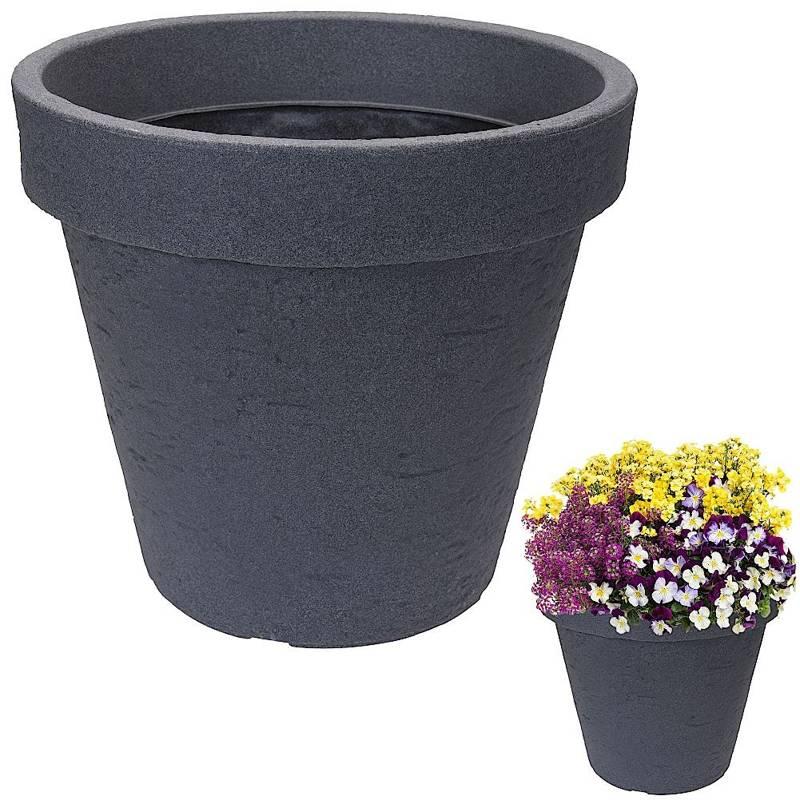 ORION Blumentopf PFLANZENTOPF groß rund für Außenbereich Garten GRAU 39 cm