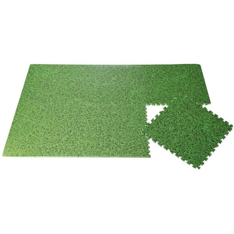 ORION Bodenmatte Puzzlematte Trainingsmatte aus SCHAUMSTOFF 40x40cm 6 Puzzleteile GRASMOTIV