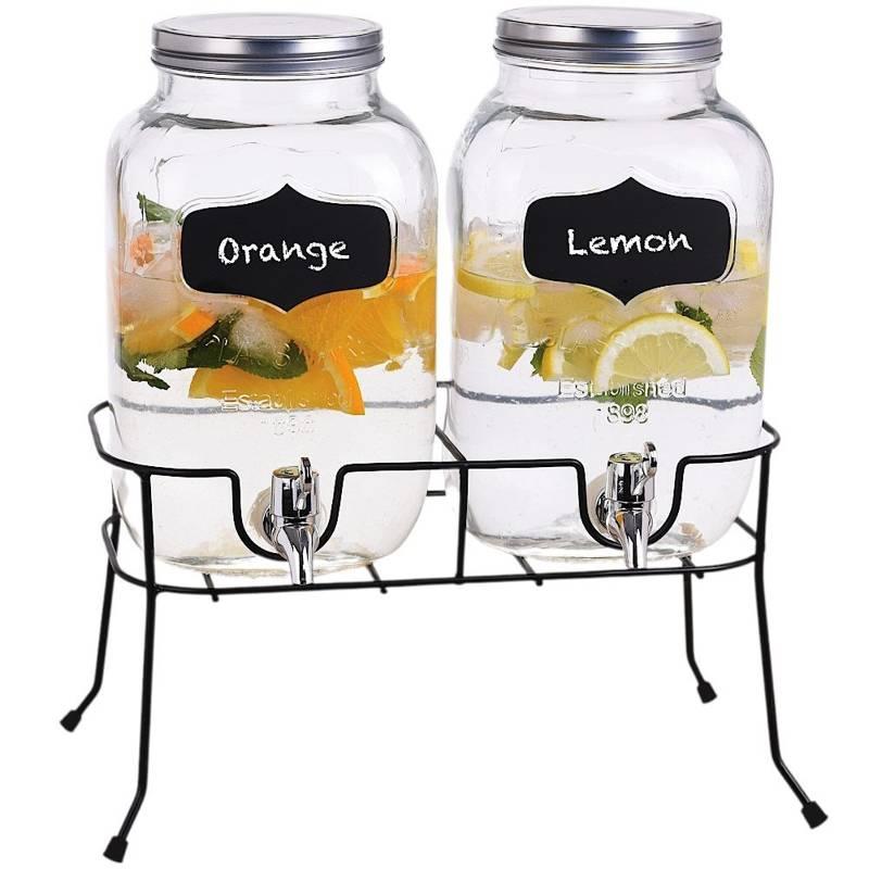 ORION GETRÄNKESPENDER mit Zapfhahn und Ständer 2x4l für Limonade Säfte Punsch ZWEI GLÄSER