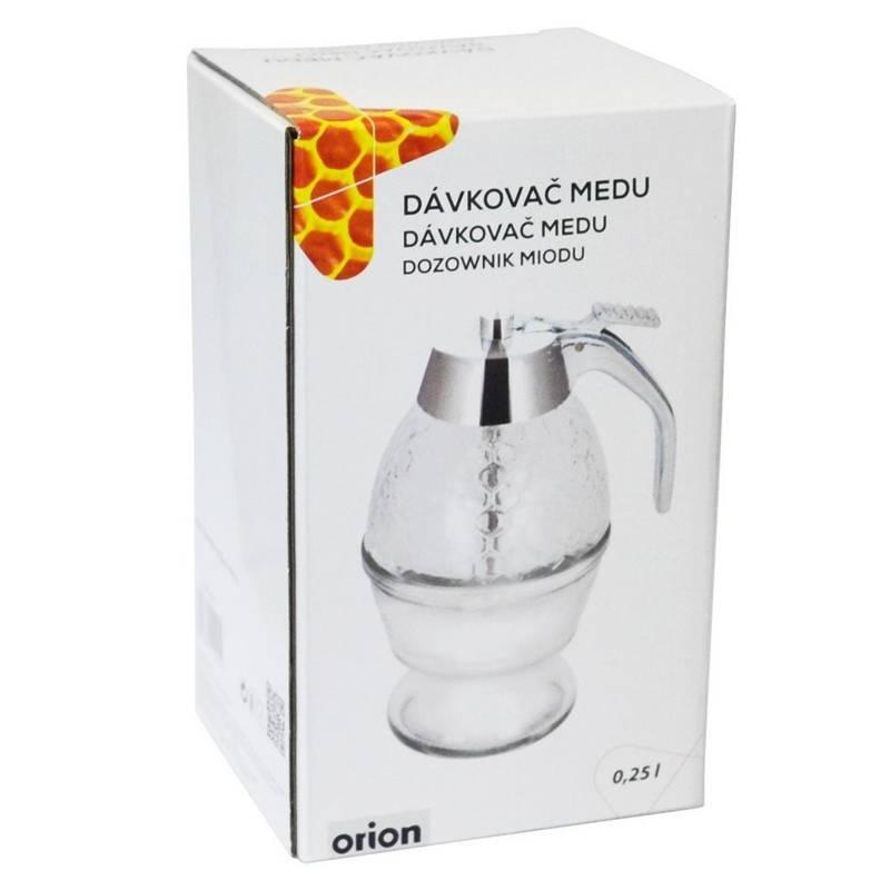 ORION GROUP Glas Spender Dispenser für Honig Sirup Honig-Dosierer mit Untersatz Speicher Ständer