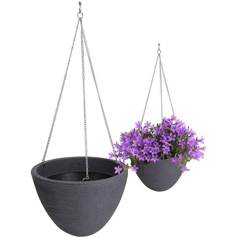 ORION Pflanzentopf Übertopf HÄNGETOPF für Garten Balkon Terrasse 33 cm in Graufarbe