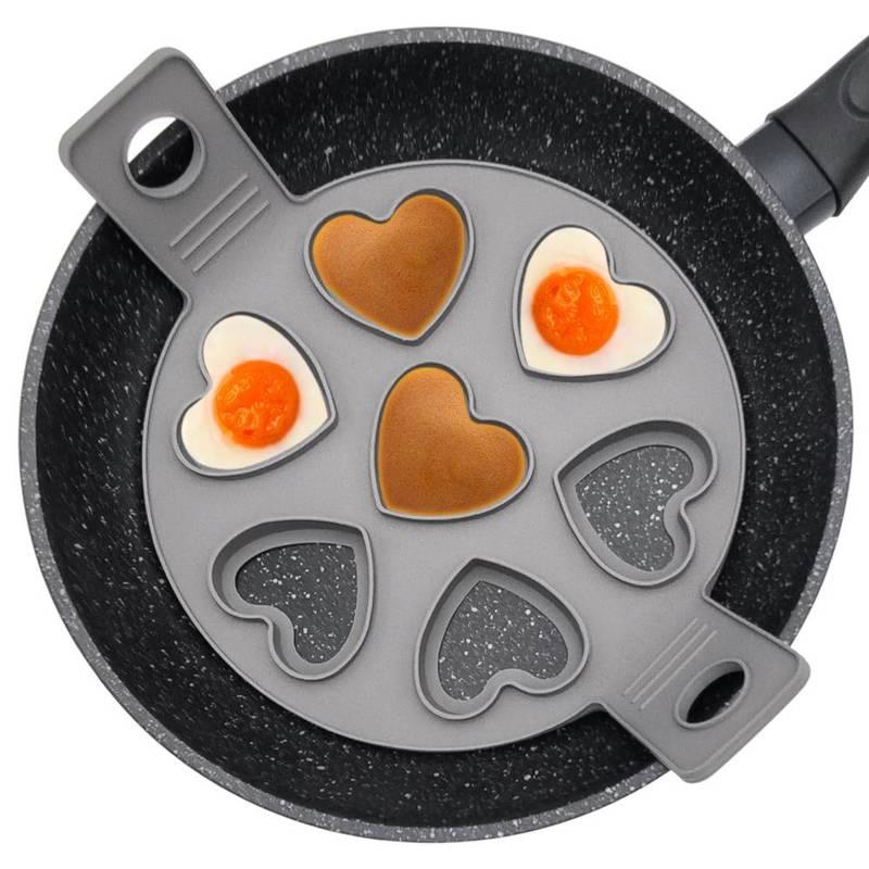 ORION Silikonform für Spiegeleier SPIEGELEIFORM Pfannkuchenform HERZEN mit 7 Löchern für Pancakes