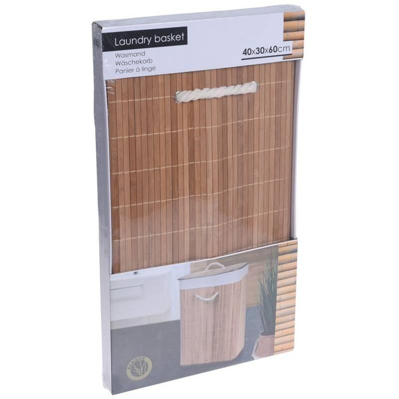ORION Wäschekorb aus BAMBUS / Behälter für schmutzige Kleidung und Unterwäsche für Badezimmer faltbar 60l