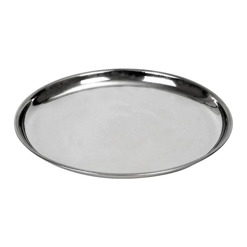 Serviertablett Servierplatte Servierteller aus Stahl rund 21 cm