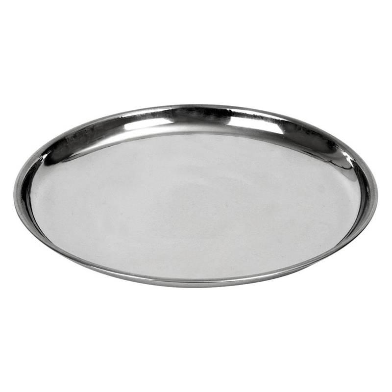 Serviertablett Servierplatte Servierteller aus Stahl rund 23 cm