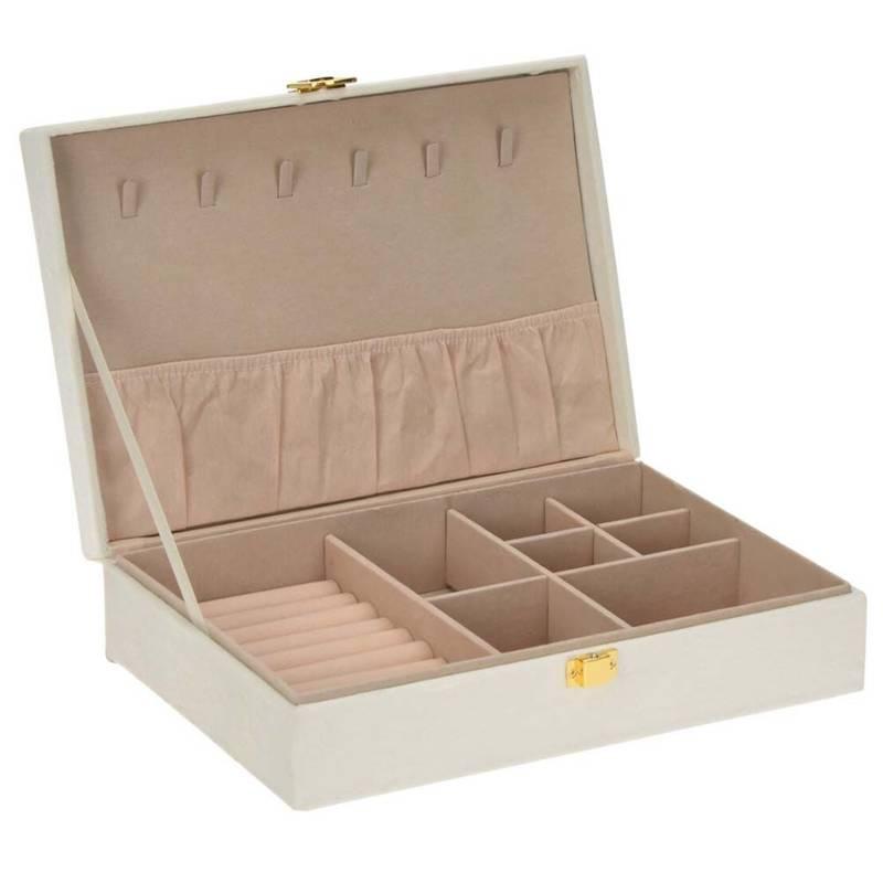 Białe pudełko na biżuterię, zamykany organizer na zegarki, szkatułka, kuferek, etui