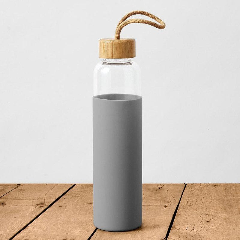 Butelka szklana silikonowa, bidon na wodę, sok, lemoniadę, smoothie, koktajl, 0,5 l, szara