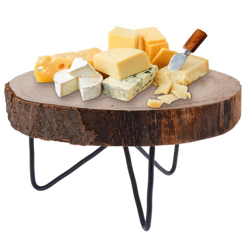 Deska drewniana do serwowania na nóżkach, do podawania dań, przekąsek, przystawek, taca, plaster drewna 24 cm