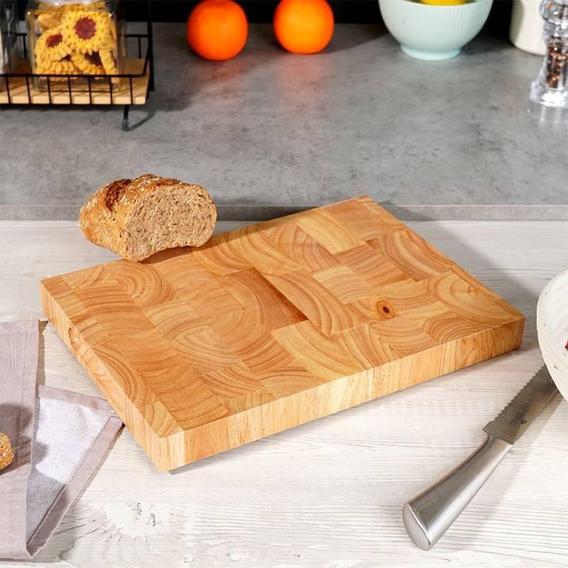 Deska drewniana kauczukowa do krojenia 35x25x3,5cm