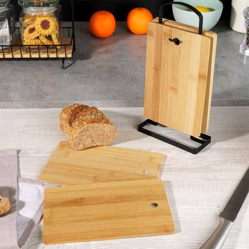 Deska śniadaniowa, bambusowa, deski do krojenia + stojak, zestaw, komplet desek 6 sztuk