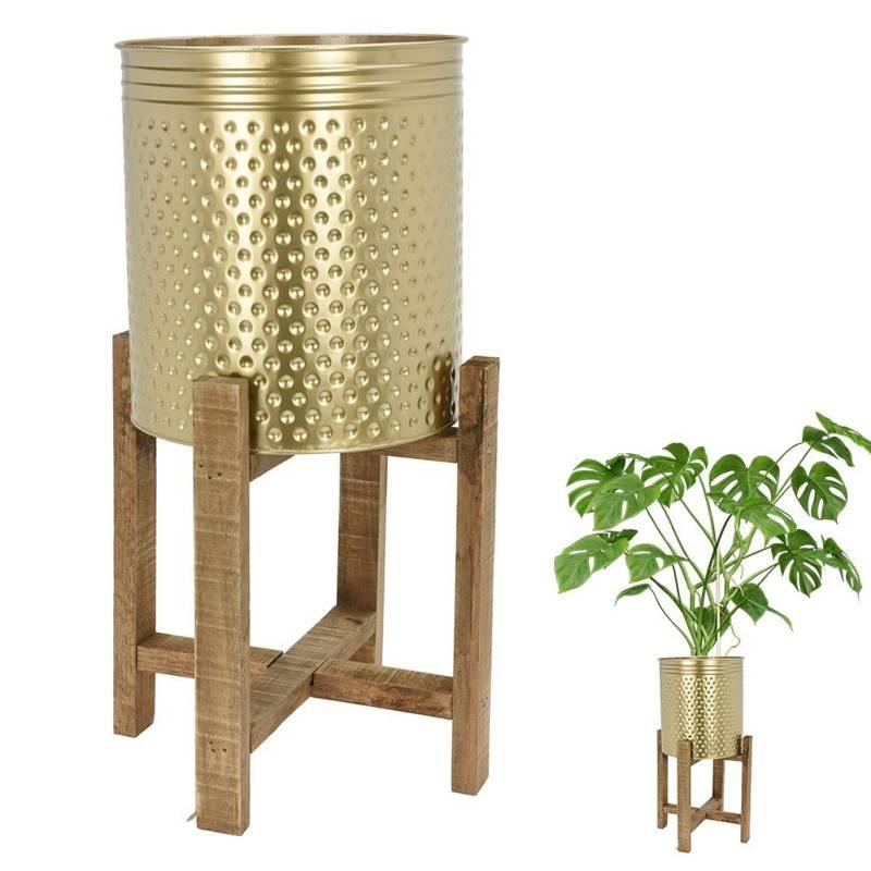 Doniczka metalowa, złota, na drewnianym stojaku, kwietnik, osłonka na rośliny, kwiaty, 50 cm