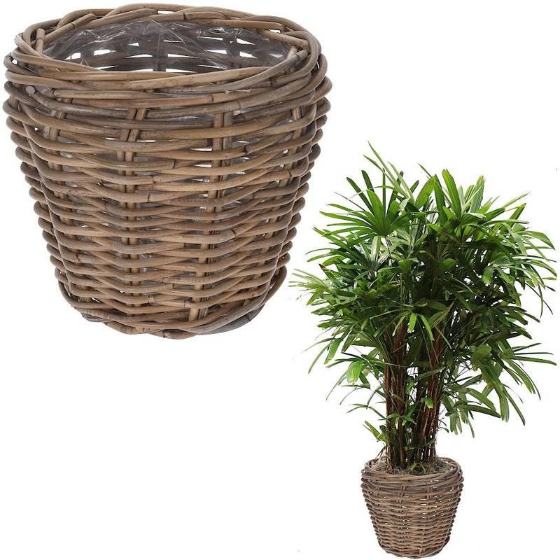 Doniczka, osłonka wiklinowa, rattanowa, kosz, koszyk na kwiaty, rośliny 28x23 cm