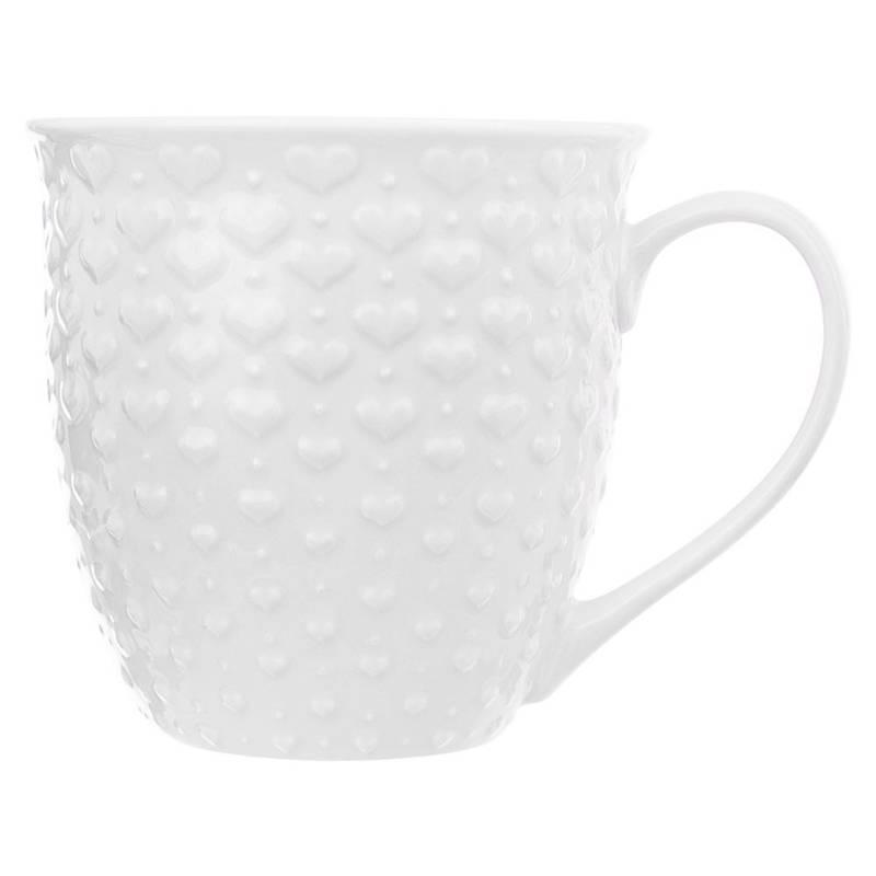 Duży kubek ceramiczny, SERCA, z uchem, do kawy, herbaty, 580 ml, BIAŁY