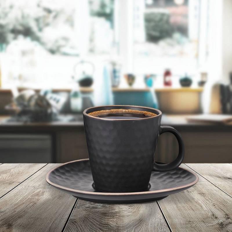 Filiżanka ceramiczna ze spodkiem, podstawką, do kawy, herbaty, czarna, 220 ml