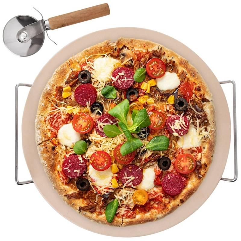 Kamień do pieczenia pizzy forma + stojak + nóż + łopata