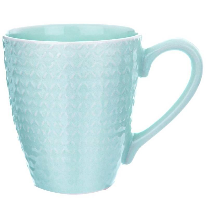 Kubek ceramiczny z uchem, do kawy, herbaty, 430 ml, zielony