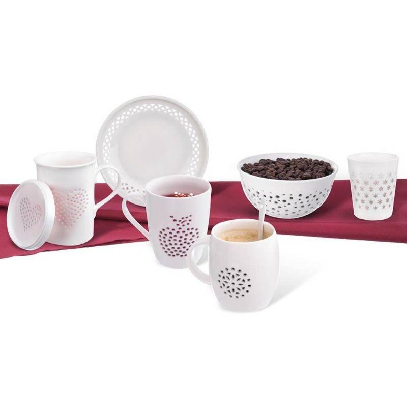 Kubek porcelanowy SERCE z pokrywką do zaparzania herbaty ziół 420 ml