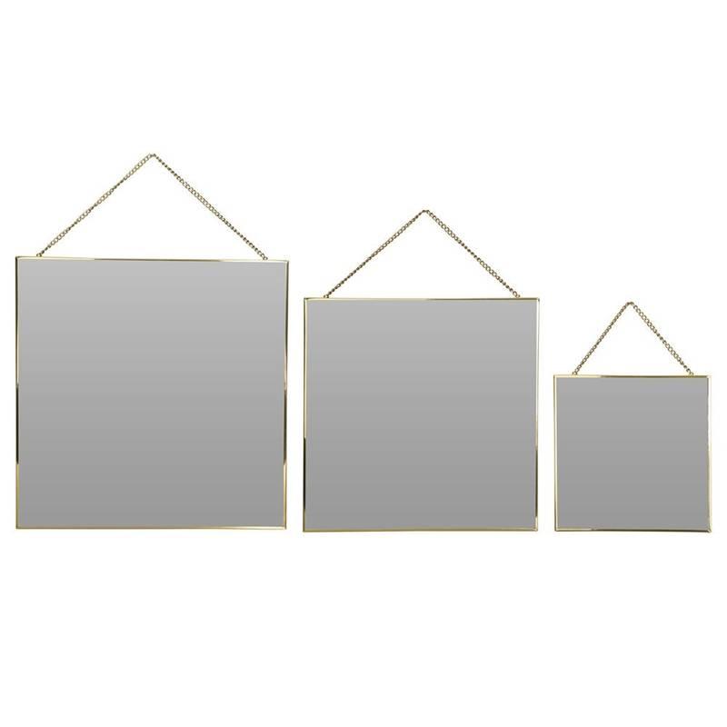 Kwadratowe lustro na łańcuszku w złotej metalowej ramie, złote, zestaw, komplet luster, 3 sztuki