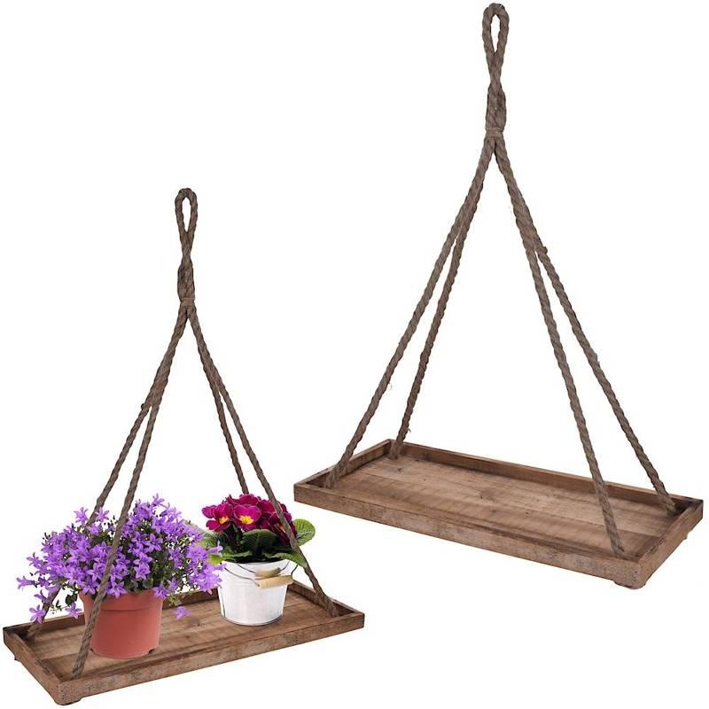Kwietnik wiszący, podstawka, podstawa wisząca, drewniana, na doniczkę, kwiat, roślinę, 58x25 cm