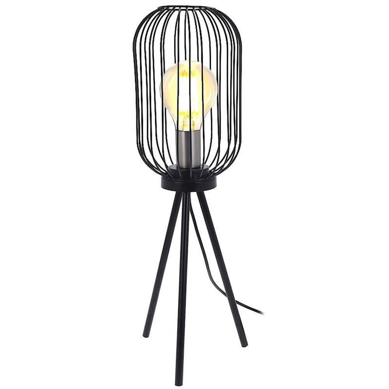 Lampka, lampa stołowa, nocna, czarna, metalowa, industrialna, loft 60 cm