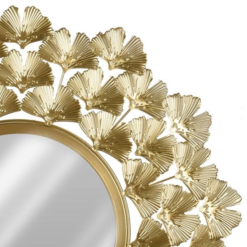 Lustro ścienne w złotej ramie, metalowe, dekoracyjne, złote, 52 cm