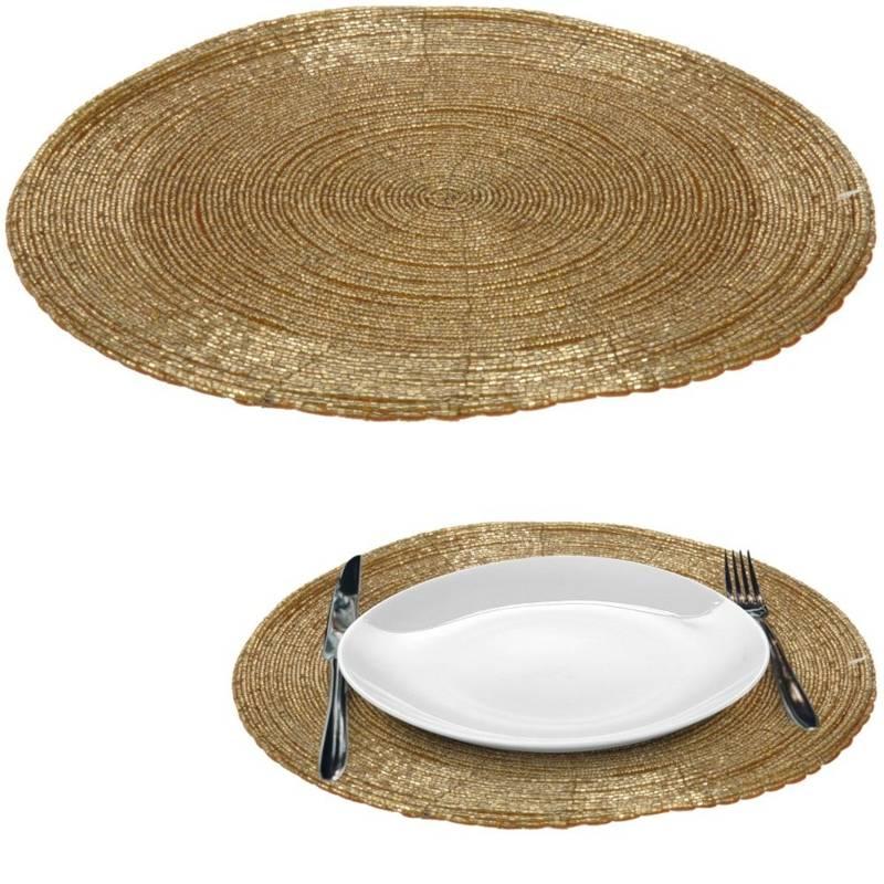 Mata kuchenna złota na stół, podkładka pod talerz, sztućce, okrągła 30 cm