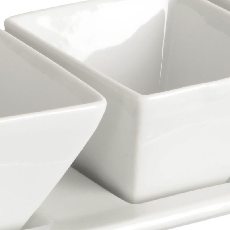 Miseczka kokilka porcelanowa 4 szt + taca podstawka