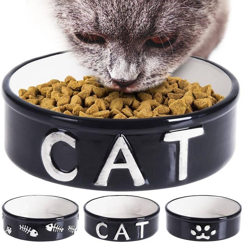 Miska ceramiczna dla kota, na karmę, wodę, 18 cm 850 ml