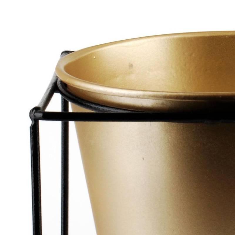 Osłonka DONICZKA metalowa na stojaku czarna złota 14x14 cm