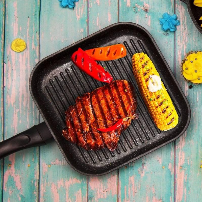 Patelnia grillowa grill 26x26 cm granitowa GRANDE