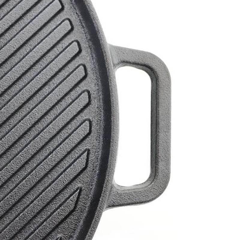 Patelnia żeliwna DWUSTRONNA grillowa grill płaska 30 cm