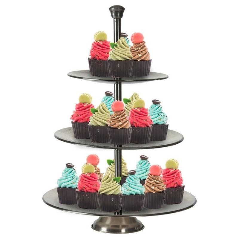 Piętrowa patera stalowa, 3-poziomowa, srebrna, na ciastka, ciasto, owoce, babeczki