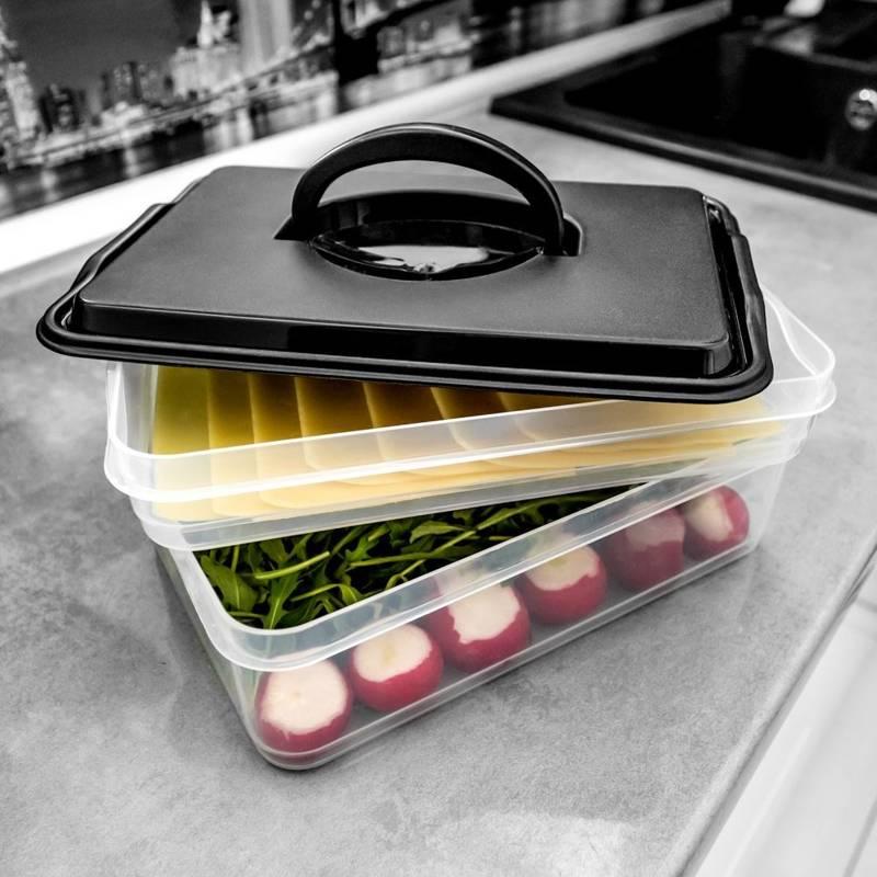 Pojemnik, organizer na wędliny, sery, warzywa, 2-poziomowy, do lodówki