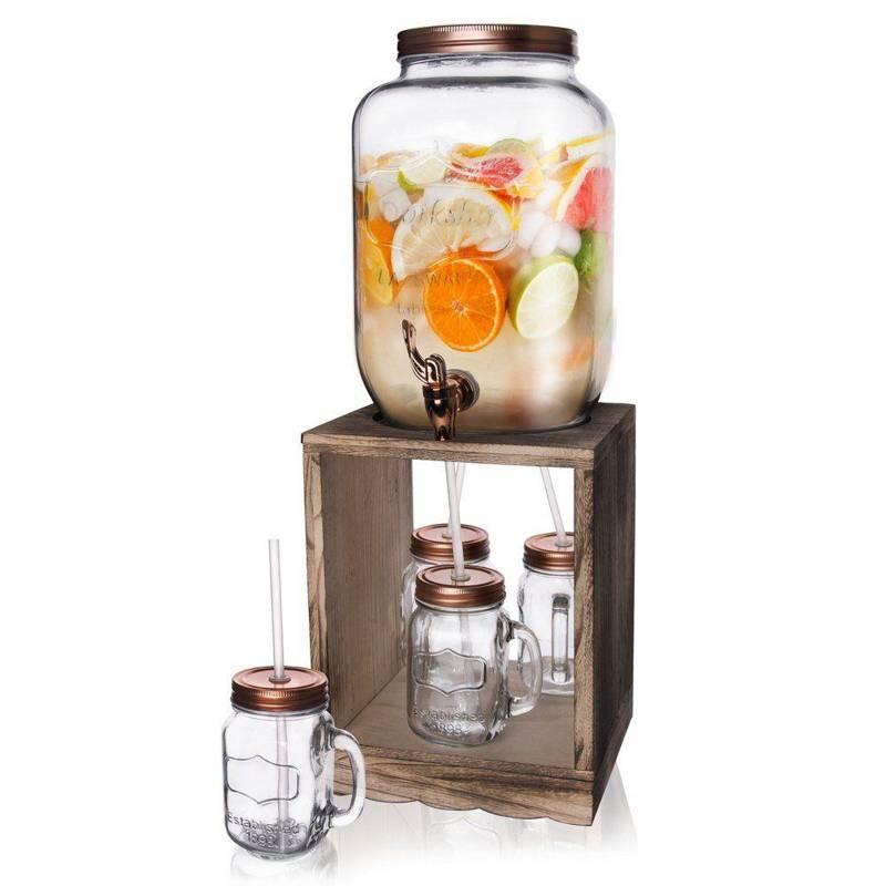 Słój słoik z kranikiem do napojów 8,8L + 4x kubek