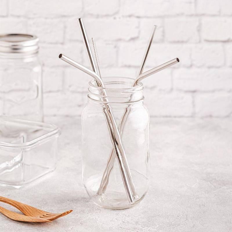 Słomki do napojów rurki stalowe, metalowe, ekologiczne, wielorazowe, + czyścik, 4 sztuki, zestaw, komplet słomek