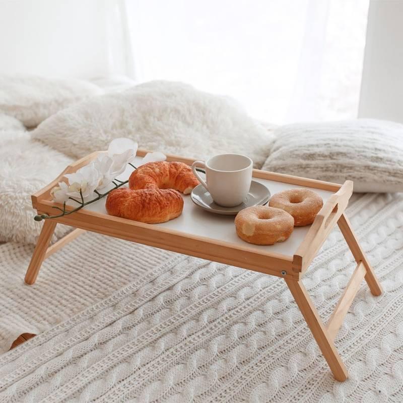 Stolik drewniany taca z nóżkami DO ŁÓŻKA pod laptopa komputer tablet śniadaniowy
