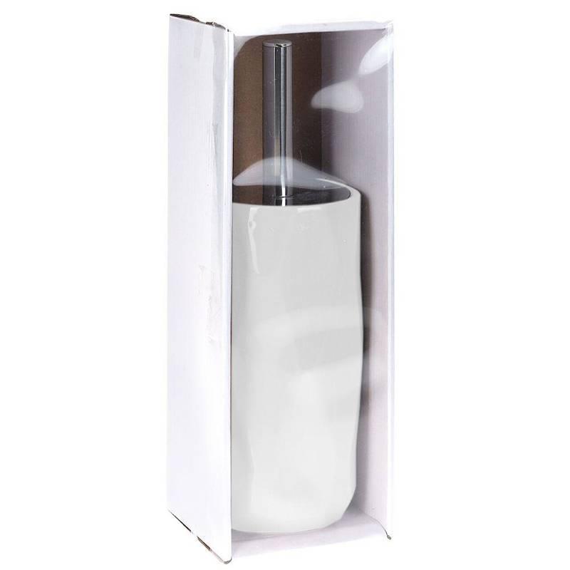 Szczotka łazienkowa, do toalety, WC, łazienki, ceramiczna + pojemnik, z pojemnikiem, biała