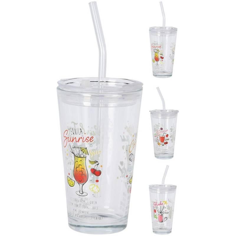 Szklanka, kubek szklany z pokrywką, słomką, 400 ml