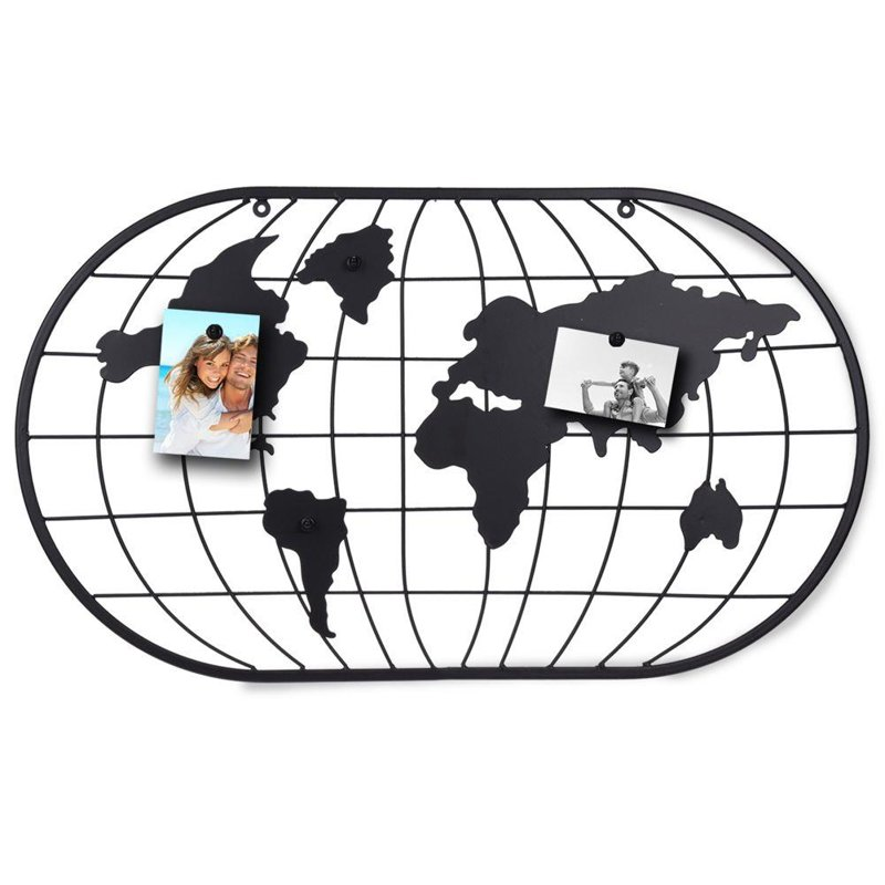 Tablica magnetyczna, mapa świata , ramka, kratka metalowa na zdjęcia, karteczki