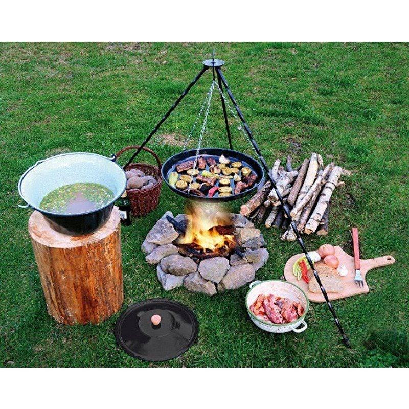 Trójnóg żelazny / stojak na kociołek grill wiszący