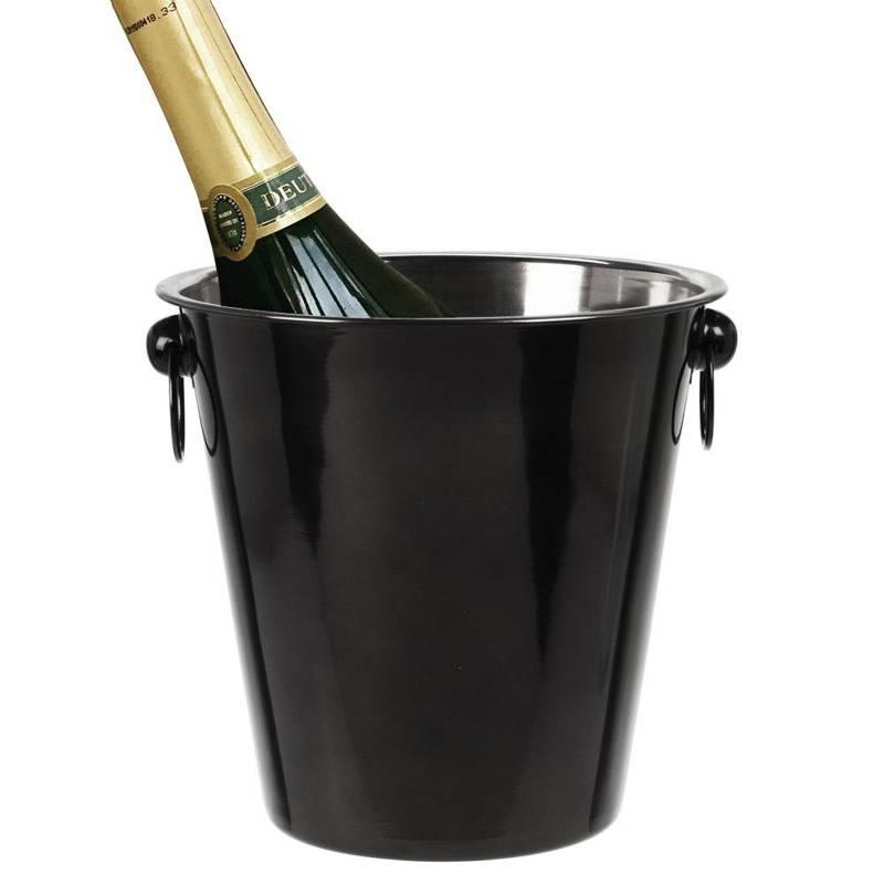 Wiaderko stalowe, czarne, pojemnik, na lód, butelkę, szampana, wino, alkohol, do lodu