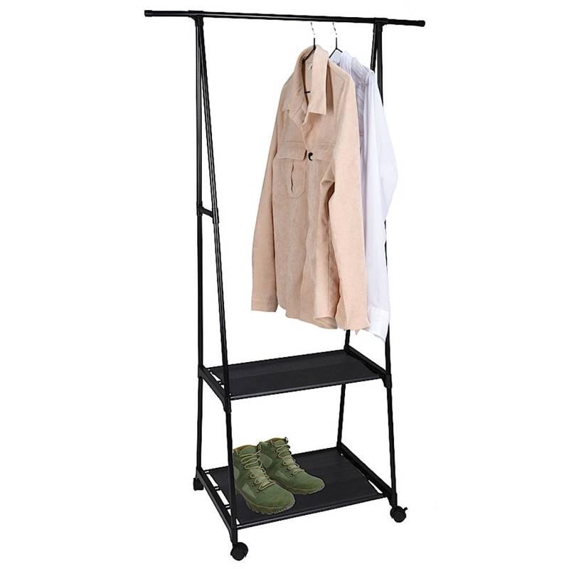 Wieszak, garderoba na kółkach, półka, stojak na ubrania, odzież, z półkami