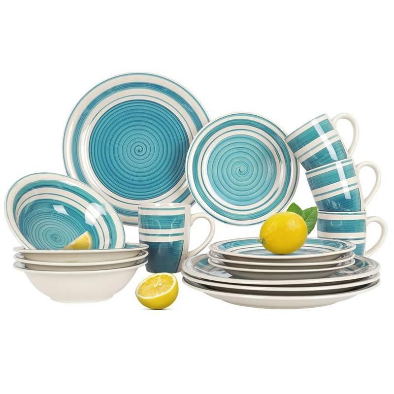 Zestaw, komplet, serwis obiadowy, miska, talerz, talerzyk, kubek 16 elementów, niebieski