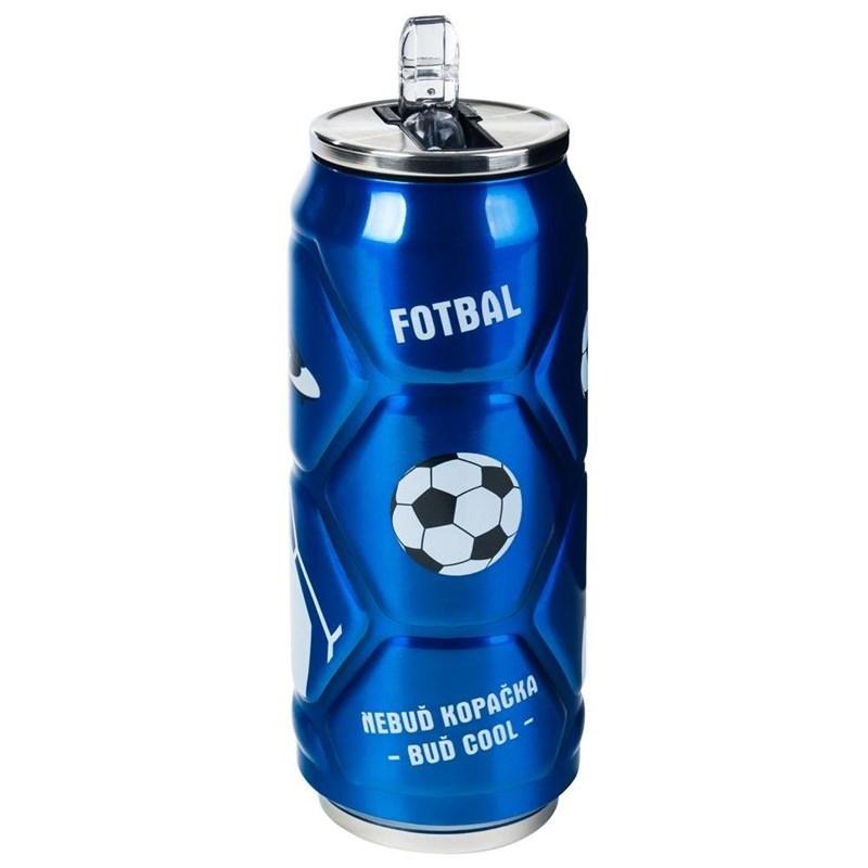 Cană termică, sticlă termos, cutie de conserve, minge, albastru, 0,5 l