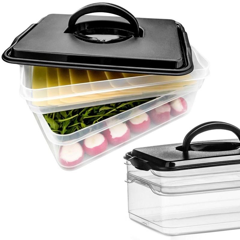Container, organizator pentru mezeluri, brânză, legume, cu 2 etaje, frigider