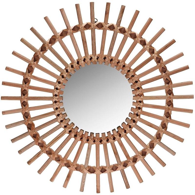 Oglindă din lemn, boho, în ramă de lemn, rotundă, 50 cm